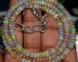 56 Crts Natural Ethiopian Welo Fire Opal Beads Necklace 58