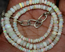 39 Crts Natural Ethiopian Welo Fire Opal Beads Necklace 59