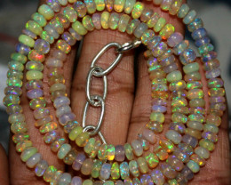 53 Crts Natural Ethiopian Welo Fire Opal Beads Necklace 62