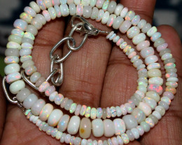37 Crts Natural Ethiopian Welo Fire Opal Beads Necklace 74