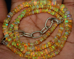 52 Crts Natural Ethiopian Welo Fire Opal Beads Necklace 77