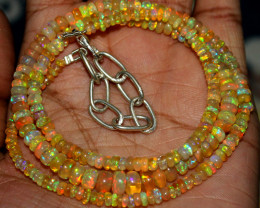 52 Crts Natural Ethiopian Welo Fire Opal Beads Necklace 80