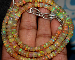59 Crts Natural Ethiopian Welo Fire Opal Beads Necklace 113