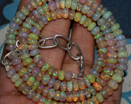 67 Crts Natural Ethiopian Welo Fire Opal Beads Necklace 121