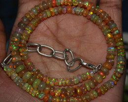 55 Crts Natural Ethiopian Welo Fire Opal Beads Necklace 134