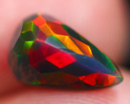 1.91Ct Multi Color Ethiopian Welo Smoked Faceted Opal FC12