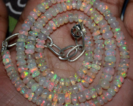 63 Crts Natural Ethiopian Welo Fire Opal Beads Necklace 163