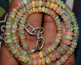 63 Crts Natural Ethiopian Welo Fire Opal Beads Necklace 106