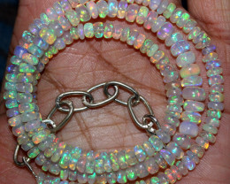63 Crts Natural Ethiopian Welo Fire Opal Beads Necklace 173