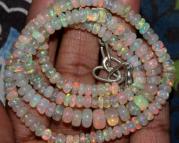 62 Crts Natural Ethiopian Welo Fire Opal Beads Necklace 180