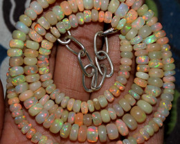 82 Crts Natural Ethiopian Welo Fire Opal Beads Necklace 187