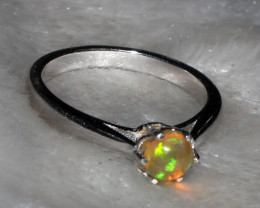 Natural Ethiopian Welo Fire Opal 925 Silver Ring Size ( 6 US) 83