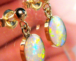 3.4ct 14k Gold Ball Stud Natural Australian Solid Opal Drop Earrings Jewelr