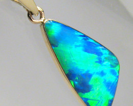 Super Bright Gem Australian Opal Pendant 14k Gold Genuine Jewelry Gift 4.7c