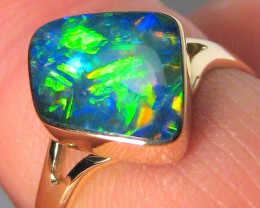 Australian Opal Ring Inlay Natural Precious Gem Gift Solitaire 2.2g Sz 7 14