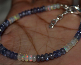 22 Crt Natural Ethiopian Welo Fire Opal & Tanzanite Beads Bracelet 97