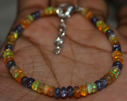 20 Crt Natural Ethiopian Welo Fire Opal & Tanzanite Beads Bracelet 93