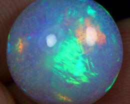 Strong Fire 5.70cts Snowy Icy Blue & Rainbow Fire Ethiopian Opal