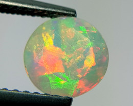 0.90 ct Play of Color Round Cut Natural Ethiopian Fire Opal