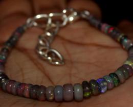 18 Crt Natural Ethiopian Welo Fire Semi Smoked Opal Beads Bracelet 20
