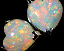7.90 CTS CRYSTAL OPAL HEART  EARRINGS IN 10 K GOLD SOJ6594