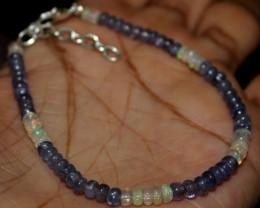 19 Crt Natural Ethiopian Welo Fire Opal & Tanzanite Beads Bracelet