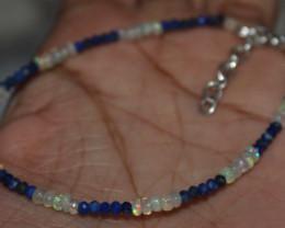 9 Crt Natural Ethiopian Welo Fire Opal & Lapis Lazuli Beads Bracelet