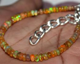 22 Crt Natural Ethiopian Welo Fire Yellow Opal Beads Bracelet 8