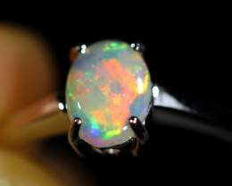 7.5 SIZE SOLID  FIRE  OPAL  STONE IN 10 K GOLD RING [SOJ6599]