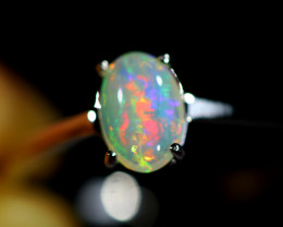 7.5 SIZE SOLID  FIRE  OPAL  STONE IN 10 K GOLD RING [SOJ6603]