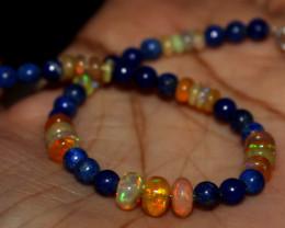 24 Crt Natural Ethiopian Welo Opal Beads & Lapis Lazuli Bracelet 112