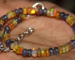20 Crt Natural Ethiopian Welo Fire Opal & Tanzanite Beads Bracelet 125