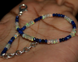 8 Crt Natural Ethiopian Welo Opal & Lapis Lazuli Beads Bracelet 110