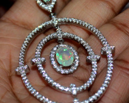Natural Ethiopian Welo Fire Opal 925 Silver Pendant Jewelry 117