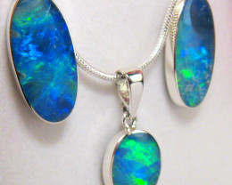 14ct Sterling Silver Australian Opal Earrings Pendant Inlay Jewelry Gift Se