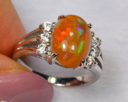 17.01cts Natural Opal 925 Sterling Silver Ring US5.75 /ZA112