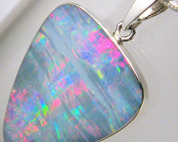 14.7ct Big Solid Silver Australian Natural Inlay Opal Pendant Gift Necklace