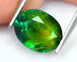 1.61Ct Botanic Neon Flash Pattern Ethiopian Welo Smoked Faceted Opal B1044
