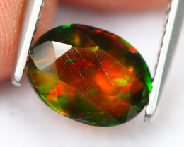1.14Ct Broad Flash Pattern Ethiopian Welo Smoked Faceted Opal B1048