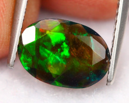 1.13Ct Neon Flash Pattern Ethiopian Welo Smoked Faceted Opal B1054