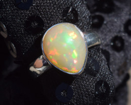 ETHIOPIAN OPAL RING 925 STERLING SILVER JE1407