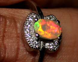 Natural Ethiopian Welo Fire Opal 925 Silver Ring Size (6.5 US) 137