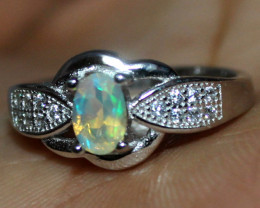 Natural Ethiopian Welo Fire Opal 925 Silver Ring Size (6 US) 146