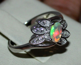 Natural Ethiopian Welo Fire Opal 925 Silver Ring Size (7 US) 148