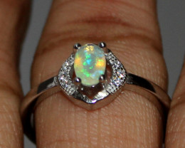 Natural Ethiopian Welo Fire Opal 925 Silver Ring Size (6.5 US) 140
