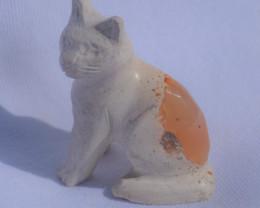 Mexican Matrix Cantera Multicoloured Fire Opal Cat Figurine