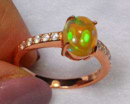 14.72cts Natural Opal 925 Sterling Silver Ring US8.25 /ZA116