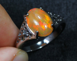 17.09cts Natural Opal 925 Sterling Silver Ring US5.75 /ZA100