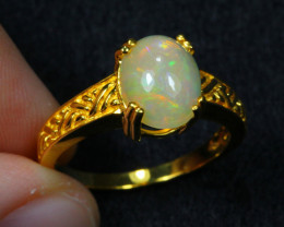 14.96cts Natural Opal 925 Sterling Silver Ring US7.25 /ZA95