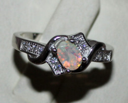 Natural Ethiopian Welo Fire Opal 925 Silver Ring Size (7 US) 149